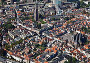 Nederland, Utrecht, Amersfoort, 06-09-2010; binnenstad met overgebleven singels en grachten. Onze Lieve Vrouwetoren en Sint-Joriskerk (rechts). .Inner city with canals. Our Lady Tower and and St George Church (right)..luchtfoto (toeslag), aerial photo (additional fee required).foto/photo Siebe Swart