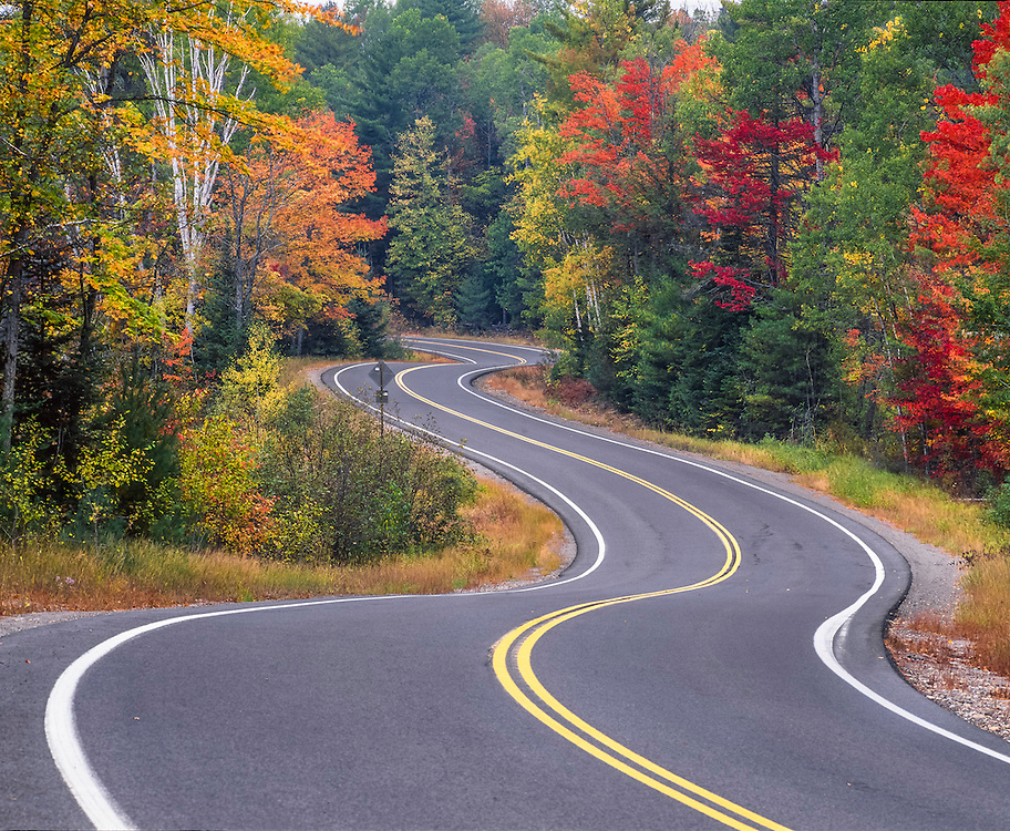 Zig-zag of country road through fall foliage, North Hudson, NY