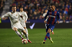 February 24, 2019 - Valencia, Valencia, Spain - Ruben Vezo of Levante UD and Gareth Bale of Real Madrid during the La Liga match between Levante and Real Madrid at Estadio Ciutat de Valencia on February 24, 2019 in Valencia, Spain. (Credit Image: © AFP7 via ZUMA Wire)
