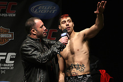 Mar 26, 2010; Newark, NJ, USA; Dan Hardy speaks with Joe Rogan about his upcoming bout on UFC 111 at the Prudential Center in Newark, NJ.