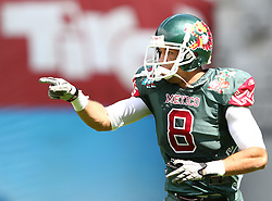 10.07.2011, Tivoli Stadion, Innsbruck, AUT, American Football WM 2011, Group A, Mexico (MEX) vs Australia (AUS), im Bild Alfonso José antonio (Mexico, #8, WR) celebrates after his touchdown // during the American Football World Championship 2011 Group A game, Mexico vs Australia, at Tivoli Stadion, Innsbruck, 2011-07-10, EXPA Pictures © 2011, PhotoCredit: EXPA/ T. Haumer