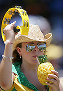 Australian cricket fans enjoy the atmosphere during the ICC Cricket World Cup Semi Final 2 match between Australia and South Africa at the Beausejour Cricket Ground in St Lucia,  West Indies on Wednesday 25 April 2007. South Africa won the toss and elected to bat first and were dismissed in the 44th over for 149. Photo: Andrew Cornaga/PHOTOSPORT<br />