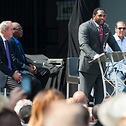 The Baltimore Ravens unveil the statue of iconic middle linebacker Ray Lewis at M&T Bank Stadium, September 4, 2014