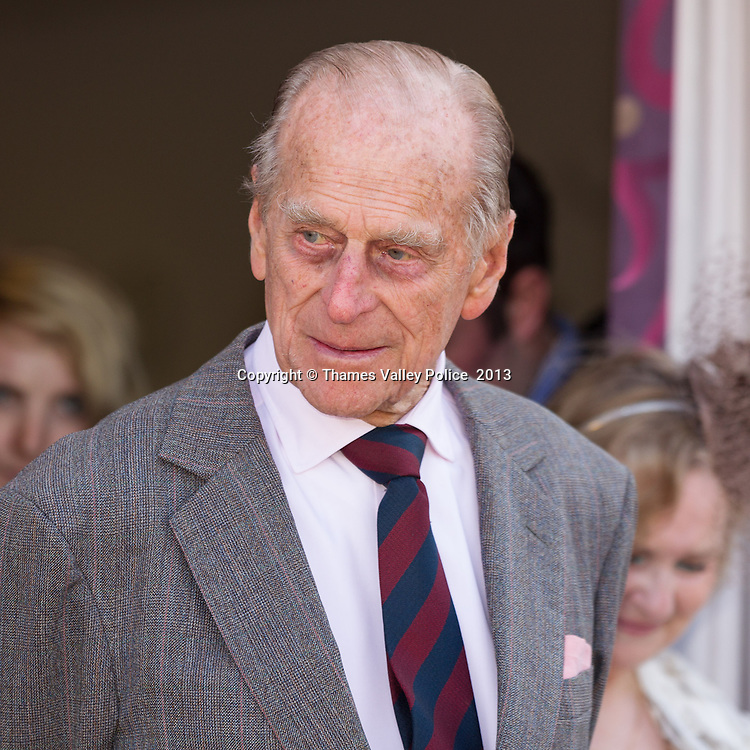 HRH The Duke of Edinburgh this morning visited the Community Centre and Police Point in Sandhurst, Berks following a promise to the town Mayor at last year's Royal Ascot Race Meeting.<br /> The Police Point was opened on 12th July 2000 and was the first of its kind in the UK. Sandhurst, UNITED KINGDOM. April 23 2013. <br /> Photo Credit: MDOC/Thames Valley Police<br /> &copy; Thames Valley Police 2013. All Rights Reserved. See instructions.