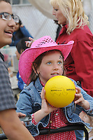 Kids were all concentration during this ball game at the Kid's Corral on Friday night at the 2013 California Rodeo Salinas.