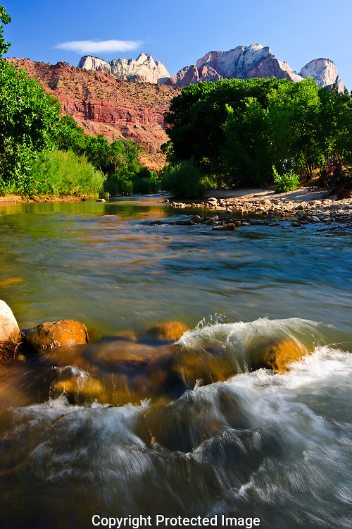 Virgin River flows from the red rock canyons of Zion National Park in Utah.