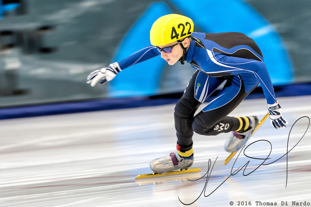 December 17, 2016 - Kearns, UT - Spencer Ripchik skates during US Speedskating Short Track Junior Nationals and Winter Challenge Short Track Speed Skating competition at the Utah Olympic Oval.