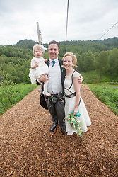 Martin Milner and Colette Gregory tying the knot in the trees at Go Ape Aberfoyle. With daughter Alice after the last zip wire.