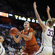 UNCASVILLE, CONNECTICUT- DECEMBER 4:  Kelsey Lang #40 of the Texas Longhorns looks to shoot while defended by Katie Lou Samuelson #33 of the Connecticut Huskies during the UConn Huskies Vs Texas Longhorns, NCAA Women's Basketball game in the Jimmy V Classic on December 4th, 2016 at the Mohegan Sun Arena, Uncasville, Connecticut. (Photo by Tim Clayton/Corbis via Getty Images)