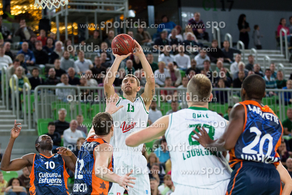 Deividas Gailius #13 of KK Union Olimpija during basketball match between KK Union Olimpija and Valencia BC (SPA) of 3rd Round of Regular season of EuroCup 2013/2014 on October 30, 2013, in SRC Stozice, Ljubljana, Slovenia. (Photo by Matic Klansek Velej / Sportida)