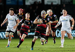 Dragons' Ollie Griffiths makes a break<br /> <br /> Photographer Simon King/Replay Images<br /> <br /> Guinness Pro14 Round 10 - Dragons v Ulster - Friday 1st December 2017 - Rodney Parade - Newport<br /> <br /> World Copyright © 2017 Replay Images. All rights reserved. info@replayimages.co.uk - www.replayimages.co.uk