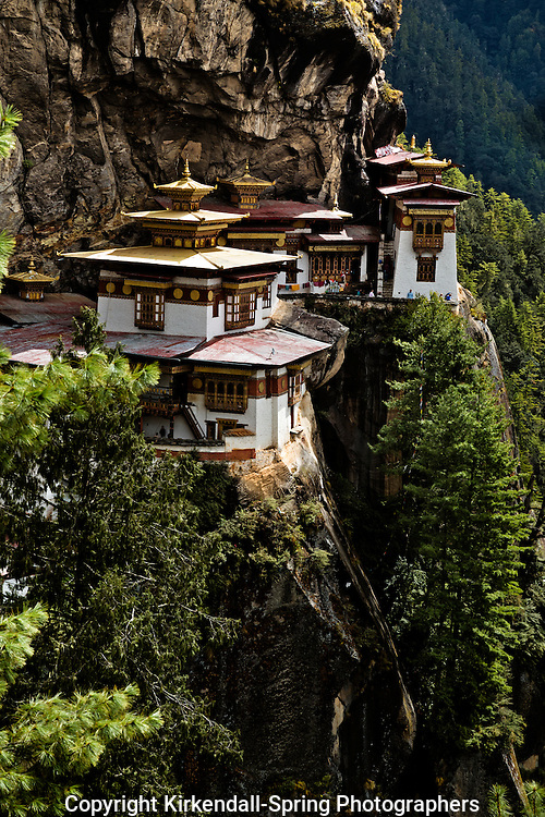 BU00336-00...BHUTAN - Taktshang Goemba, (the Tiger's Nest Monastery), perched on the side of a cliff high above the Paro River Valley.