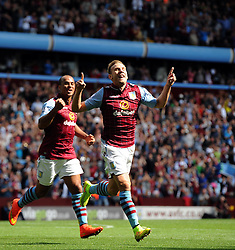 Aston Villa's Andreas Weimann celebrates his goal with Aston Villa's Gabriel Agbonlahor - Photo mandatory by-line: Joe Meredith/JMP - Mobile: 07966 386802 31/08/2014 - SPORT - FOOTBALL - Birmingham - Villa Park - Aston Villa v Hull City - Barclays Premier League