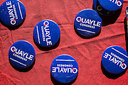 02 JULY 2012 - PARADISE VALLEY, AZ:  Ben Quayle's campaign buttons on a table at a candidate forum in Paradise Valley Monday. David Schweikert and Ben Quayle, both conservative freshmen Republican Congressmen from neighboring districts are facing each other in an August primary to see which one will represent Arizona's 6th Congressional District in 2013. The two were thrown into the same district as a result of legislative redistricting.  PHOTO BY JACK KURTZ