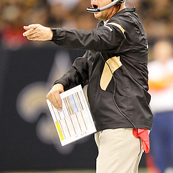 September 25, 2011; New Orleans, LA, USA; New Orleans Saints head coach Sean Payton against the Houston Texans during the third quarter at the Louisiana Superdome. The Saints defeated the Texans 40-33. Mandatory Credit: Derick E. Hingle