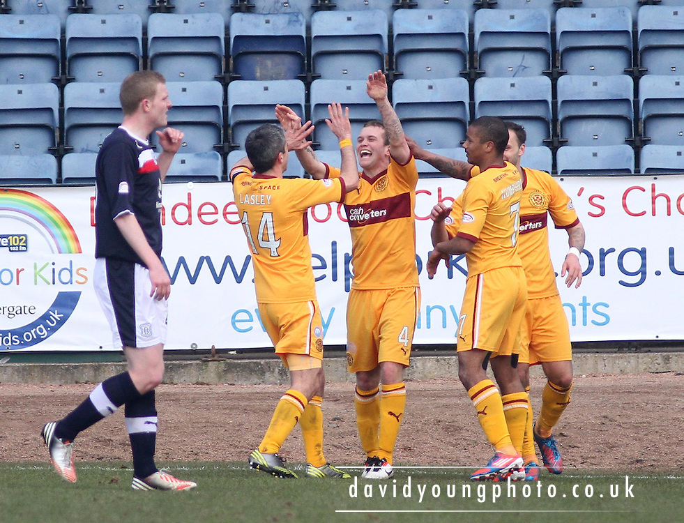 Nicky Law goal celebration - Dundee v Motherwell in the Clydesdale Bank Scottish Premier League at Dens Park.. - © David Young - www.davidyoungphoto.co.uk - email: davidyoungphoto@gmail.com