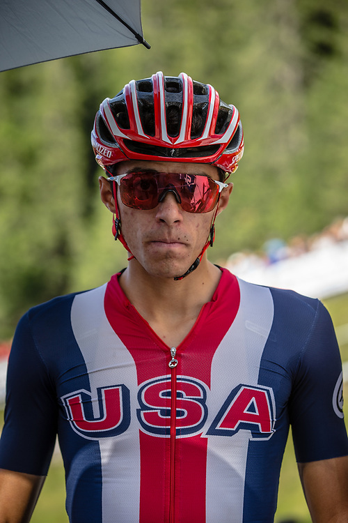 Christopher Blevins (USA)at the start of the Team Relay at the 2018 UCI MTB World Championships - Lenzerheide, Switzerland