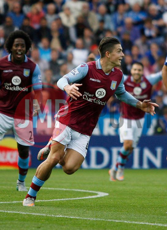 Jack Grealish of Aston Villa celebrates scoring his sides first goal  - Mandatory byline: Jack Phillips/JMP - 07966386802 - 13/09/2015 - SPORT - FOOTBALL - Leicester - King Power Stadium - Leicester City v Aston Villa - Barclays Premier League