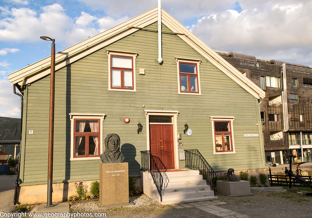 Roald Amundsen bust statue sculpture at the Polar Museum, Tromso, Norway