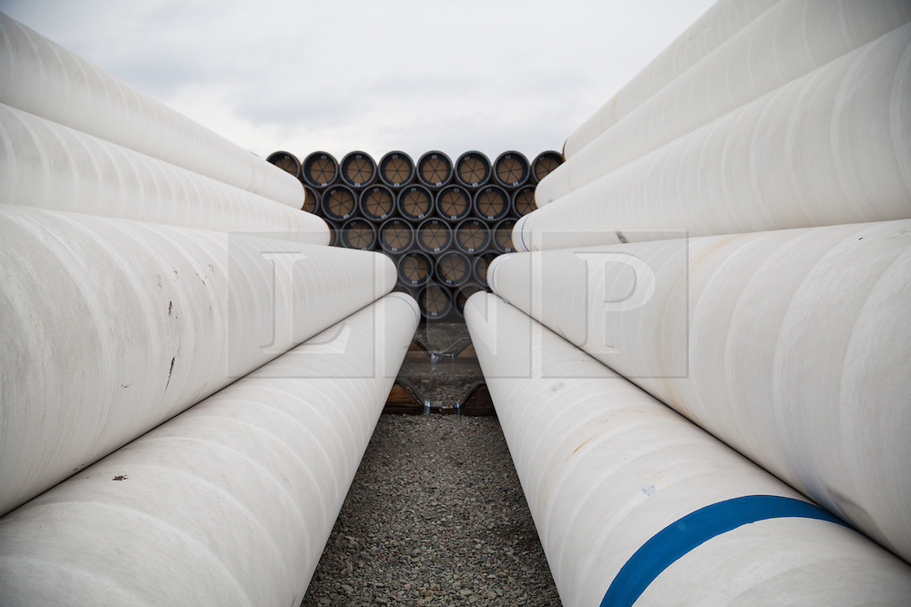 © Licensed to London News Pictures. 10/12/2014. Burgas, Bulgaria. South Stream pipe laying on the quayside in the port of Burgas today, 10th December 2014. South Stream, the proposed gas pipeline from Russia to Bulgaria has been cancelled following confirmation by the main shareholder company, Gazprom. Photo credit : Rob Arnold/LNP