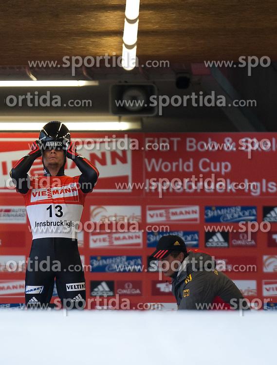 03.12.2011, Eiskanal, Igls, AUT, Viessmann FIBT Bob und Skeleton Weltcup, Skeleton Herren, 1. Durchgang, im Bild Alexander Gasznar (GER) // Alexander Gasznar  of Germany during first run men's Skeleton at FIBT Viessmann Bobsleigh and Skeleton World Cup at Olympic ice canal, Innsbruck Igls, Austria on 2011/12/03. EXPA Pictures © 2011, PhotoCredit: EXPA/ Johann Groder