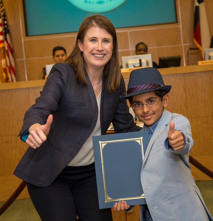 Houston ISD Trustee Holly Maria Flynn Vilaseca recognizes Yash Semlani during a Board of Trustees meeting, April 13, 2017.