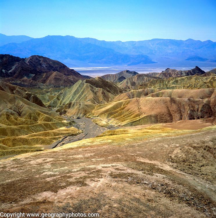 Desert environment, Death Valley national park, California, USA Gulleying near Zabriskie Point,  Death Valley national park, California, USA