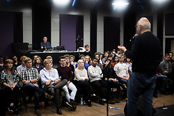 © Licensed to London News Pictures . 30/09/2016 . Manchester , UK . Composer and producer PETE WATERMAN talks to students about his career in music , at an event commemorating him being granted an honorary fellowship of the Royal Northern College of Music , at a new recording studio in the basement of the RNCM . Photo credit : Joel Goodman/LNP