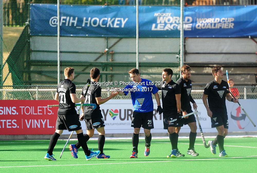 Shea McAleese(Blue) of New Zealand celebrates his goal with teammates during 2017 Hockey World League Men Semi Final game between Spain and New Zealand at Wits Hockey Fields in Parktown on 17 July 2017 ©Aubrey Kgakatsi/BackpagePix / www.photosport.nz