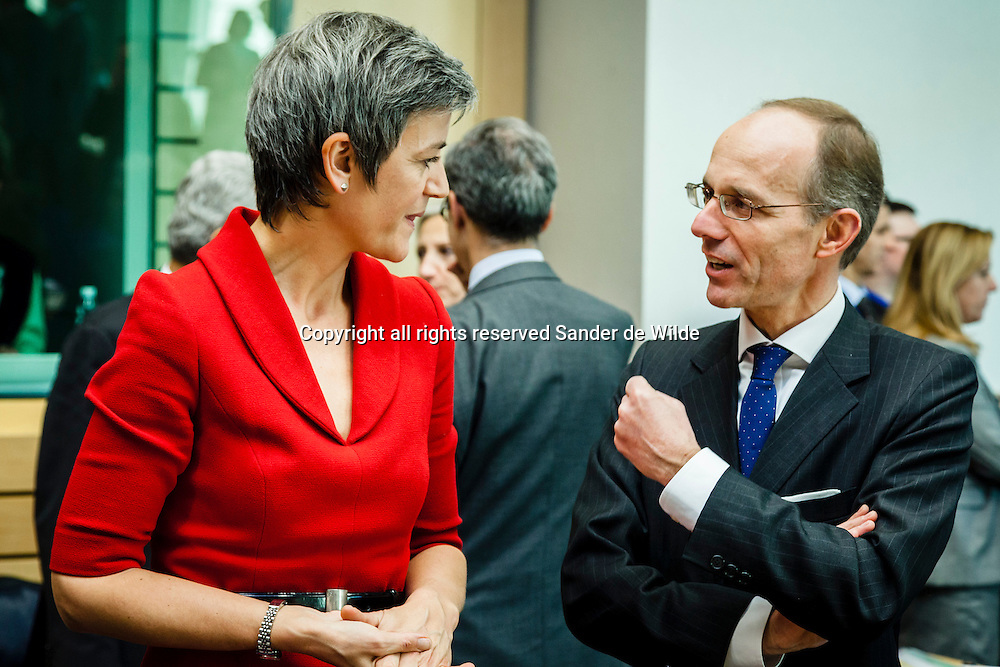 Brussels Wednesday 12 December 2012.  A meeting of the Economic and Financial Affairs Council where the Banking Supervision Mechanism will be on the agenda..Danish Finance minister Margrethe Vestager and Luxemburg Finance Minister Luc Frieden talk