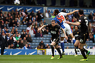 Blackburn Rovers&rsquo; Rudy Gestede heads towards goal. Skybet football league championship match, Blackburn Rovers v Wigan Athletic at Ewood Park in Blackburn, England on Saturday 3rd May 2014.<br /> pic by Chris Stading, Andrew Orchard sports photography.