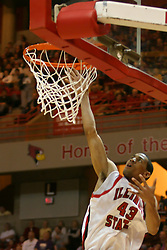 01 January 2006..Dana Ford drops an easy one in the bucket...The Southern Illinois Saluki's chewed up the Illinois State Redbirds with 37 points in the 2nd half to beat the birds with a final score of 65-52.  An audience of just over 7500 watched the in Redbird Arena on the campus of Illinois State University in Normal Illinois.....