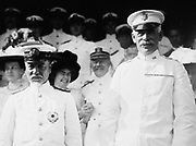 Admiral Togo Heihachiro (1848-1934), Japanese naval hero, with Major General Thomas Henry Barry, superintendent of the US Military Academy at West Point, New York which honoured Admiral Togo in  August 1911.