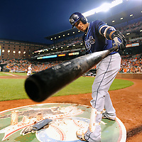 20 August 2013:  Tampa Bay Rays shortstop Yunel Escobar (11) points his bat at me while in the on deck circle in action against the Baltimore Orioles at Camden Yards in Baltimore, MD. where the Tampa Bay Rays defeated the Baltimore Orioles, 7-4.