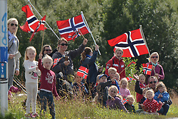 August 11, 2016 - Rognan, Norway - Norwegian supporters during the opening stage of the Arctic Race of Norway from Bodo to Rognan..On Thursday, 11 August 2016, in Rognan, Norway. (Credit Image: © Artur Widak/NurPhoto via ZUMA Press)