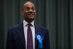 Maidenhead, UK. 13 December, 2019. Conservative candidate Adam Afriyie shows his delight at being re-elected as the Member of Parliament for the Windsor constituency.