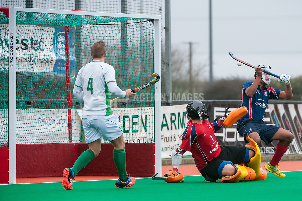 Brooklands' Aidan Khares saves a Canterbury penatly corner. Canterbury v Brooklands - Now: Pensions Hockey League Premier Division, Polo Farm, Canterbury, UK on 28 February 2015. Photo: Simon Parker