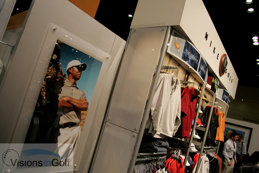 The Nike stand showing Tiger Woods poster at The PGA Merchandise show January 2005, Orlando, Florida, USA  Photo Mark Newcombe