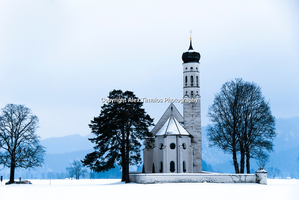 The baroque St. Coloman Chapel in Allgau, Germany.