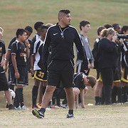 Newark FC manager Diego Ruiz watches the game from the sidelines during a regular season soccer match between Newark and Delcastle Thursday, Oct. 22, 2015 at Delcastle in Wilmington.