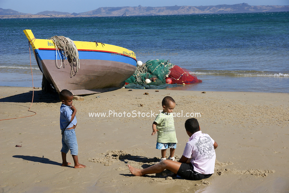 Madagascar, Northern Madagascar, Antsiranana (Diego-Suarez) Bay. Fishing boats on the shore in the bay
