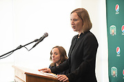 Robin Oliver, Vice President of University Communincations and Marketing introduces President M. Duane Nellis at a press conference for the announcement of the new Atheltic Director, Julie Cromer.