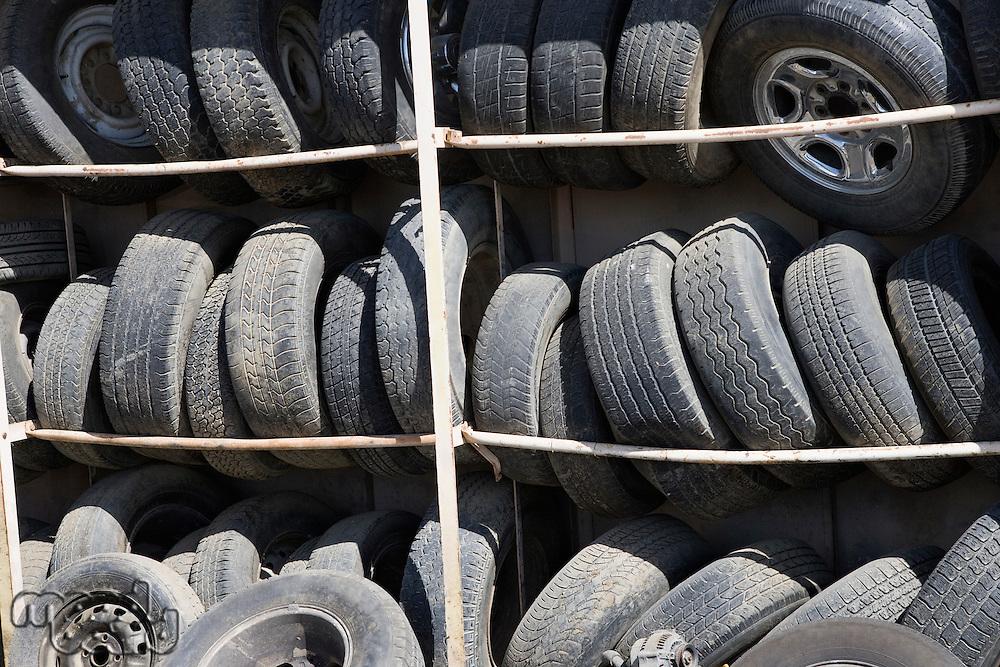 Old tires in rack