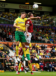 Aden Flint of Bristol City challenges Christoph Zimmermann of Norwich City - Mandatory by-line: Robbie Stephenson/JMP - 23/09/2017 - FOOTBALL - Carrow Road - Norwich, England - Norwich City v Bristol City - Sky Bet Championship