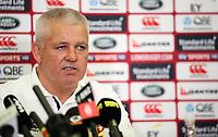 Rugby Union - 2017 British & Irish Lions Tour of New Zealand - Warren Gatland Press Conference<br /> <br /> Lions Head Coach Warren Gatland talks to the press, Auckland. <br /> <br /> COLORSPORT/LYNNE CAMERON