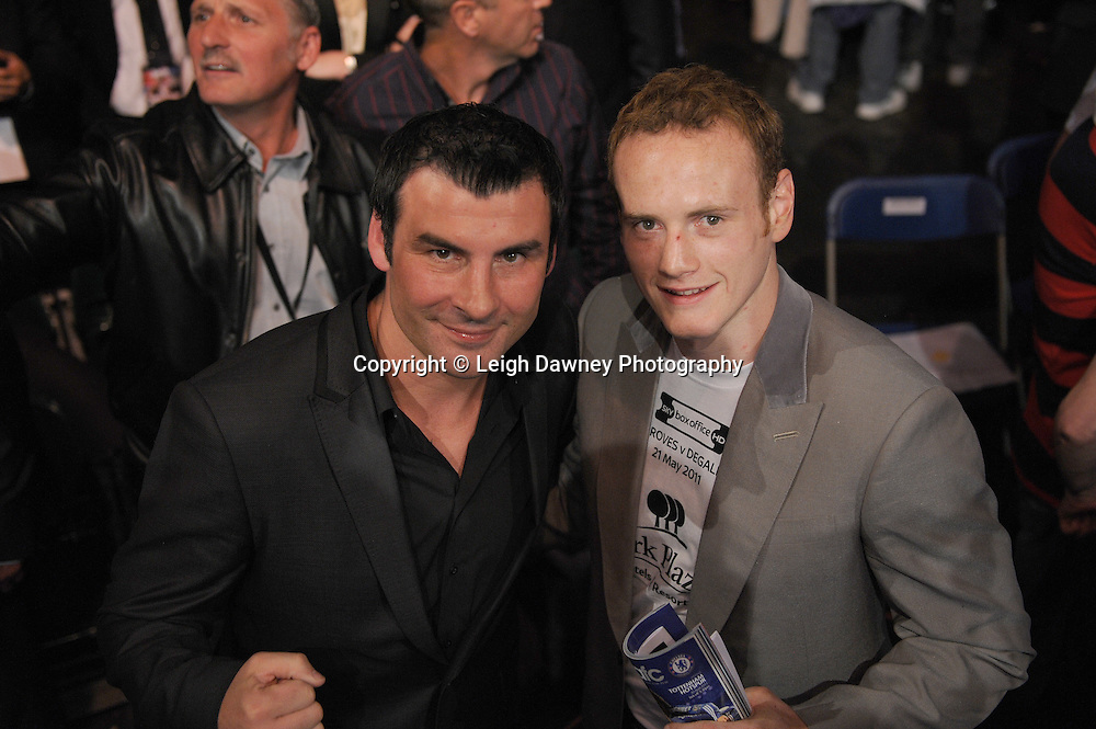Joe Calzaghe (left - former world champion) and George Groves due to face James DeGale next month. Pictured after the Darren Barker v Domenico Spada fight at London's Olympia on Saturday 30th April 2011. Matchroom Sport. Photo credit © Leigh Dawney.