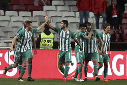 February 3, 2018 - Lisbon, Portugal - Rio ave players celebrating their goal during the Portuguese League  football match between SL Benfica and Rio Ave FC at Luz  Stadium in Lisbon on February 3, 2018. (Credit Image: © Carlos Costa/NurPhoto via ZUMA Press)