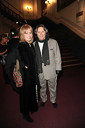 JOANNA LUMLEY and her husband STEPHEN BARLOW at the gala opening night of Cirque du Soleil's Varekai at the Royal Albert Hall, London on 5th January 2010.