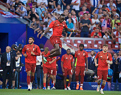 MADRID, SPAIN - SATURDAY, JUNE 1, 2019: Liverpool's Sadio Mane jumps as the team come out during the pre-match warm-up before the UEFA Champions League Final match between Tottenham Hotspur FC and Liverpool FC at the Estadio Metropolitano. (Pic by David Rawcliffe/Propaganda)