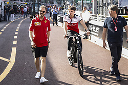 May 23, 2018 - Montecarlo, Monaco - 05 Sebastian Vettel from Germany with Scuderia Ferrari SF71H with 16 Charles Leclerc Monaco with Alfa Romeo Sauber F1 Team C37 portrait during the Monaco Formula One Grand Prix  at Monaco on 23th of May, 2018 in Montecarlo, Monaco. (Credit Image: © Xavier Bonilla/NurPhoto via ZUMA Press)